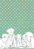ilustrované skupina dětí těší, společné čtení