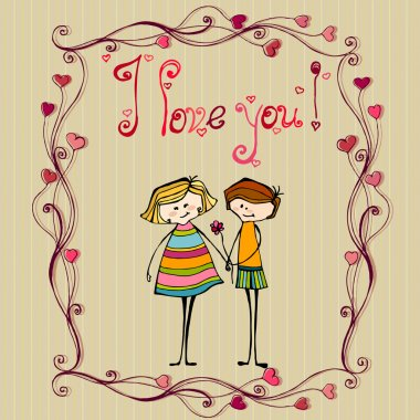 Vector illustrated cute couple with flower for your valentine's day design clip art vector
