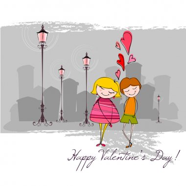 Vector romantic background with illustrated couple for Valentine's day clip art vector