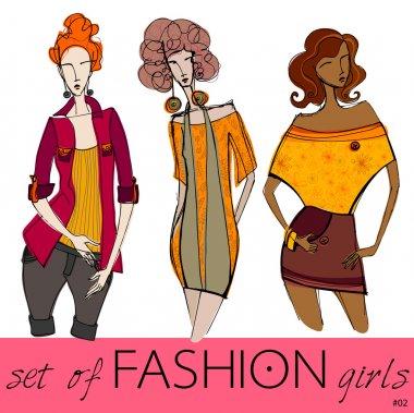 Vector set of illustrated elegant stylized fashion models clip art vector