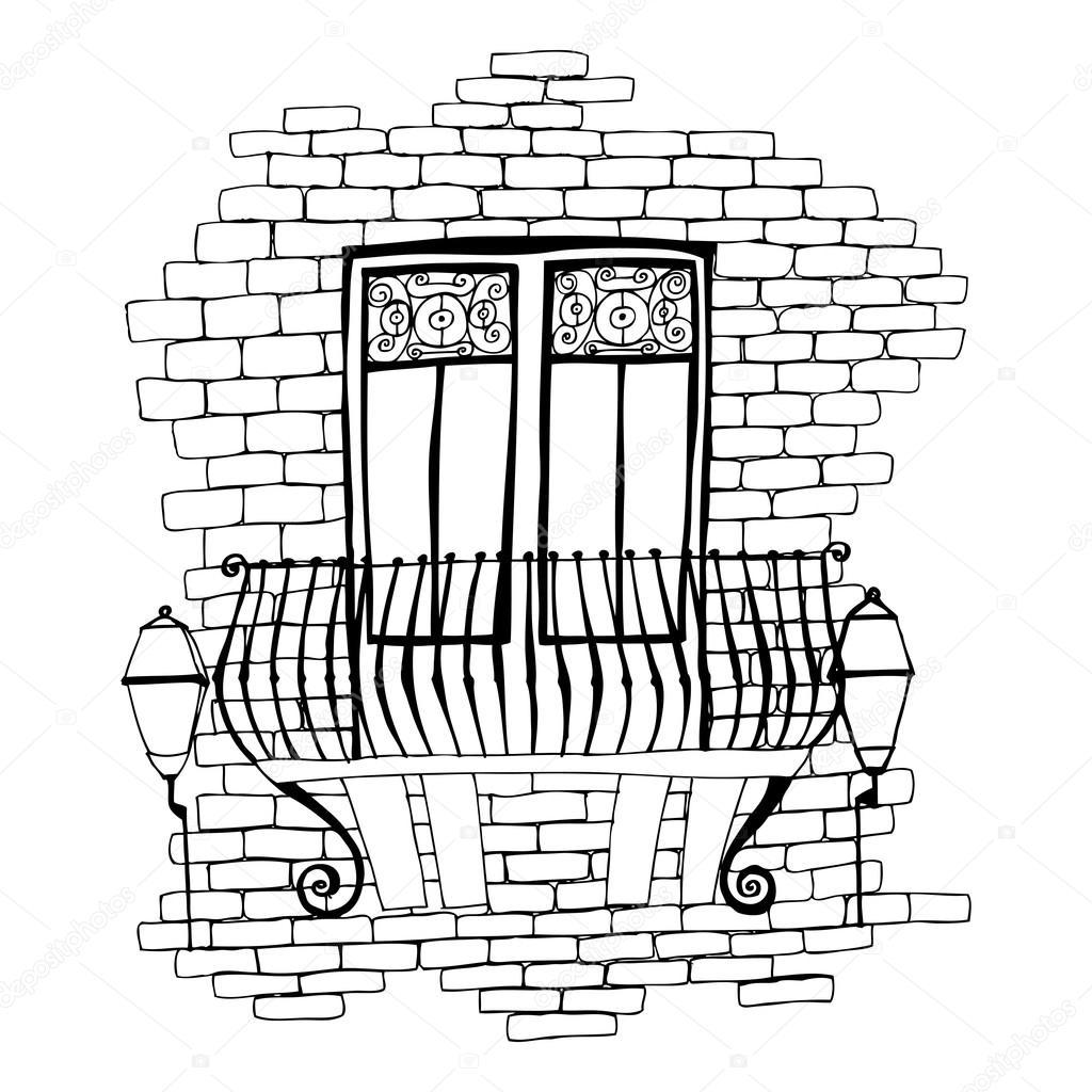 Ziegelmauer Mit Balkon Stockvektor C Re Bekka 61037429