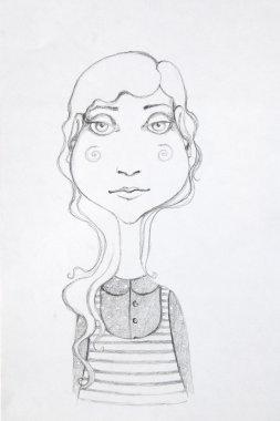 beautiful hand-drawn woman.