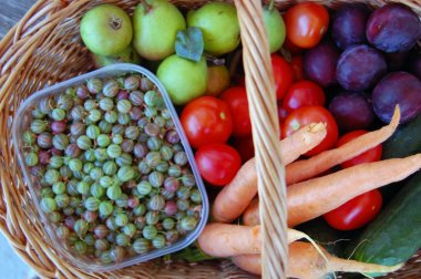 Vegetables and fruits in a basket