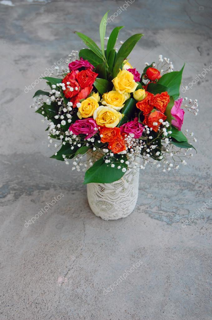 Bouquet Of Colorful Flowers For Birthday Stock Photo Rebekka