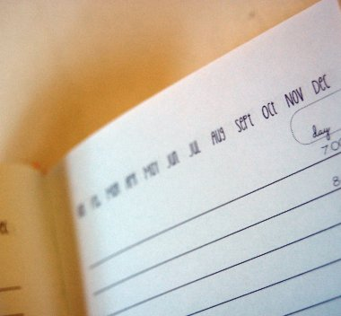 opened agenda with blank pages