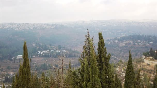 Peaceful view on Jerusalem lost in hills