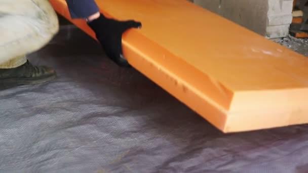 Fußboden Dämmung ~ Fußbodendämmung mit styropor vor dem betonieren u stockvideo