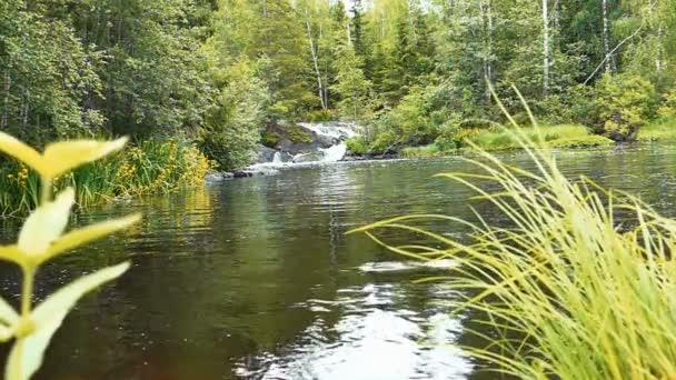 Ahinkoski Waterfall Near Ruskeala Marble Canyon in Karelia, Russia
