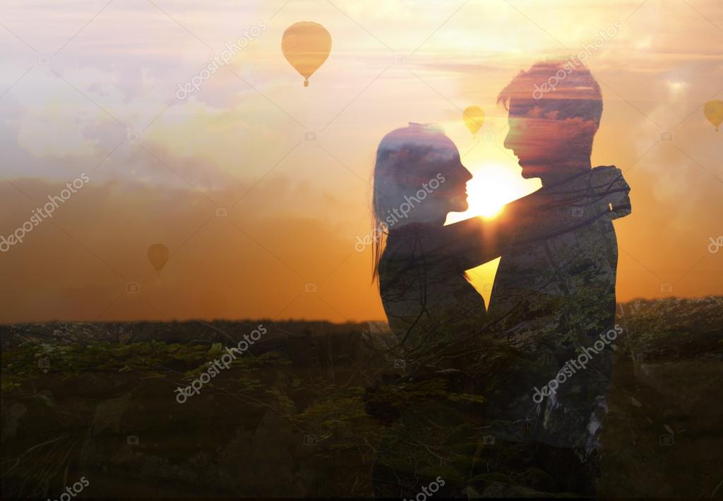 Double exposure of young couple in love.
