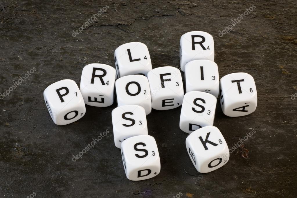 Gewinn, Risiko und Verlust auf Würfel — Stockfoto © rogerashford ...