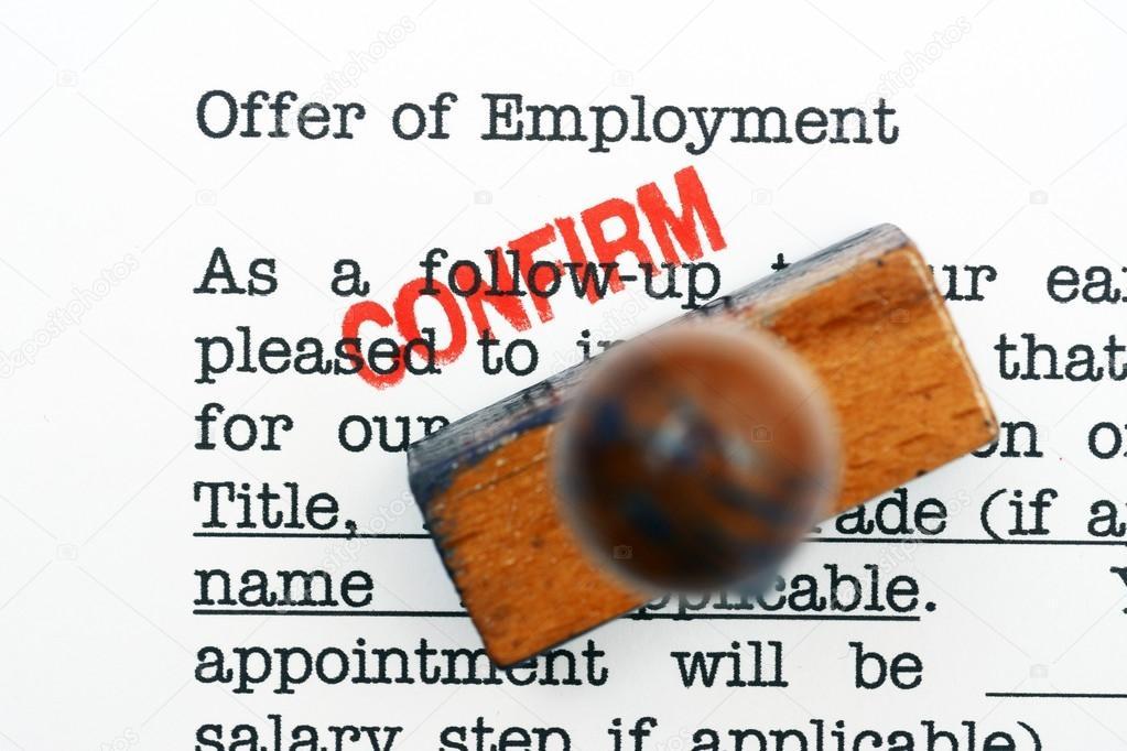 Angebot Der Beschäftigung Bestätigen Stockfoto Alexskopje