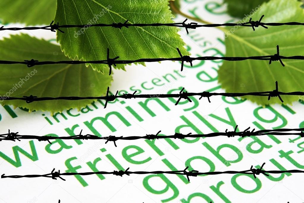 hojas verdes y concepto del calentamiento global — Foto de stock ...