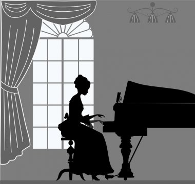 Playing on piano woman