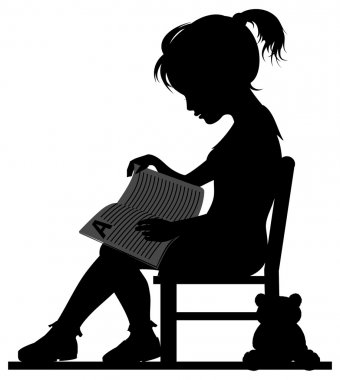 Silhouette of little girl reading book for her toy clip art vector