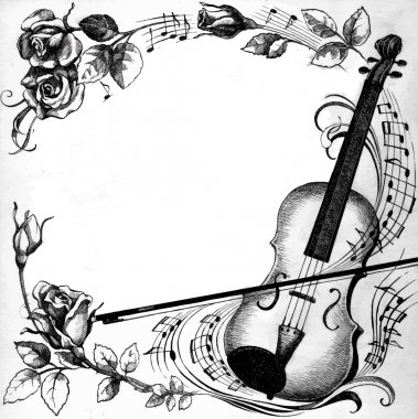 Illustration with Violin and notes
