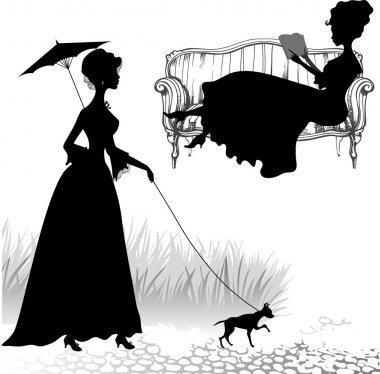 Silhouettes of a girl with a dog and a girl with book
