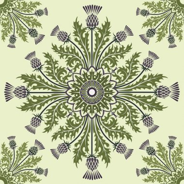 Background with thistles in green color