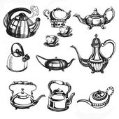 Fotografie Hand drawn collection of teapots