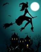 Pozadí s létáním krásné čarodějnice