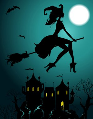 Background with flying beautiful witch