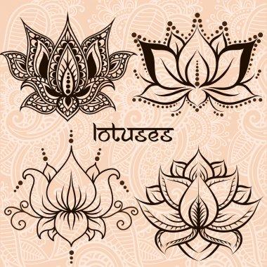 Decorative lotuses set