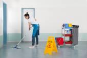 Janitor Mopping Corridor