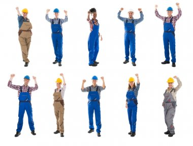 Construction Workers Raising Arms