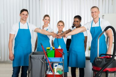 Happy Cleaners Stacking Hands