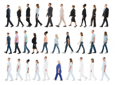 Collage Of People Walking In Line