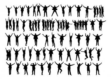 Collage of silhouette business people raising arms in victory over white background. Vector image clip art vector