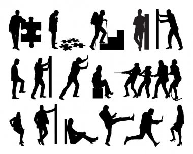 Silhouette Business People Doing Various Tasks