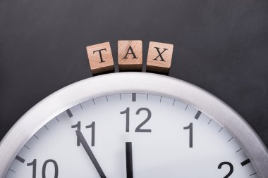 Clock showing tax time