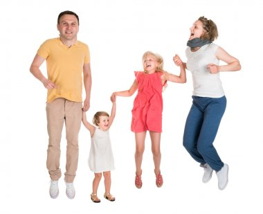 Excited Young Happy Family Jumping