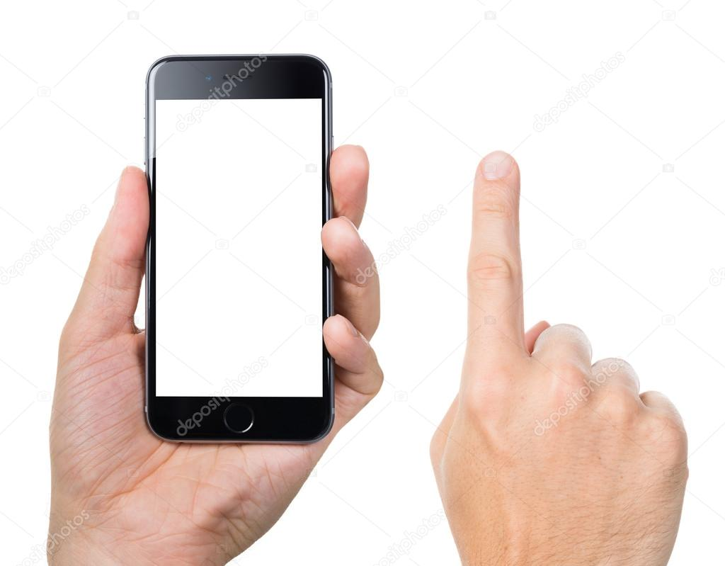 Man's Hand Gesturing While Holding Apple iPhone 6
