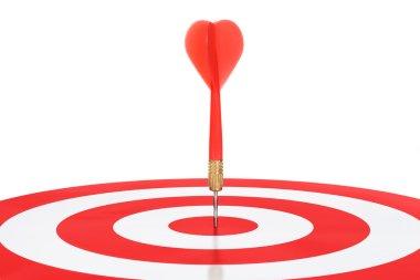 Closeup Of Red Dart On Target