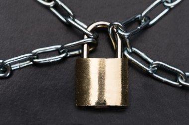 Closeup Of Metallic Padlock And Chains
