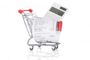Shopping Trolley With Receipts And Calculator