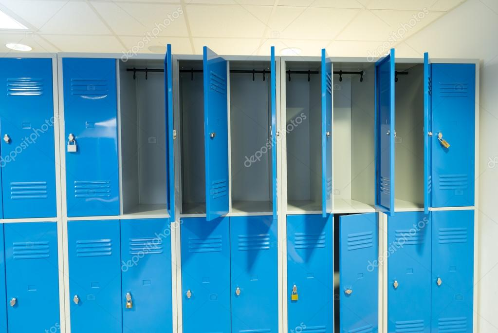 Open Lockers In The Room Stock Photo