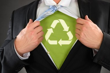 Businessman Showing Recycled Symbol