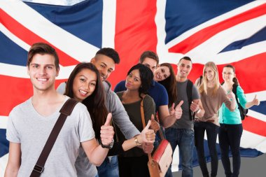 Students In Front Of Uk Flag