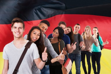Students  In Front Of German Flag
