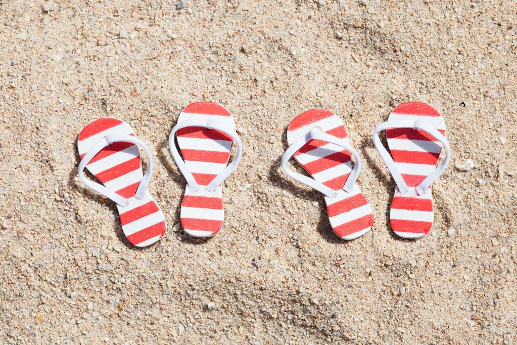Pairs Of Striped Flip-flops