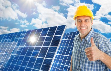 Mature Man With Solar Panel