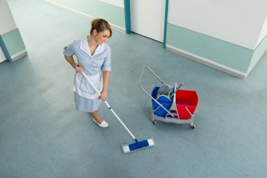 Janitor With Cleaning Equipment