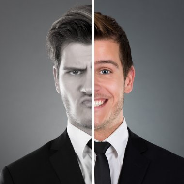 Businessman With Two Faces Expression
