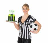 Photo Referee Holding Drinks And Football