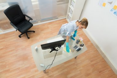 Young Maid Cleaning Desk