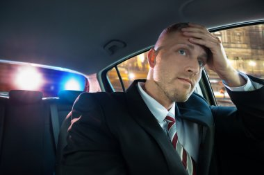 Stressed Young Driver Has Problems With Police stock vector
