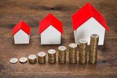 Různé velikosti domy s mincí