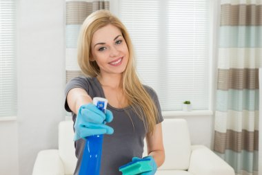 Woman With Sponge And Spray